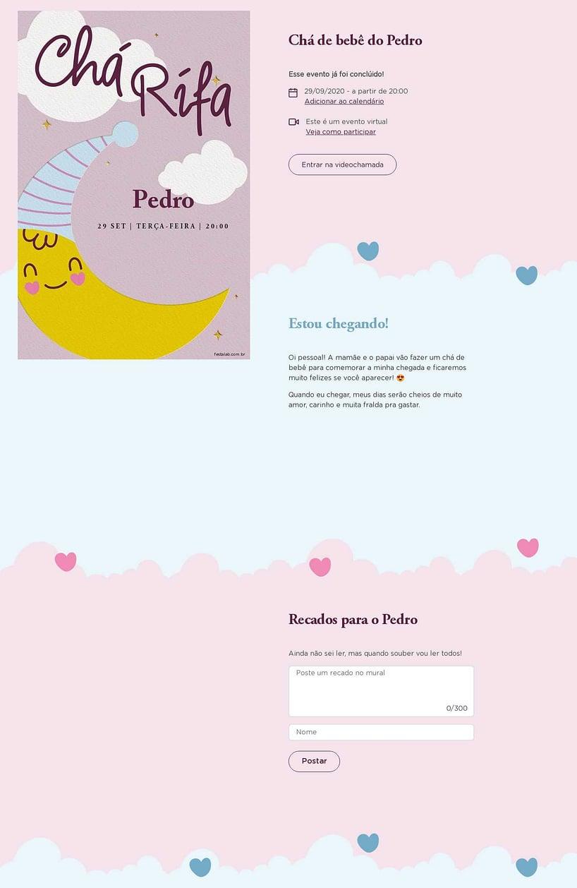 Convite Online Chá de bebê - Chá rifa lua rosa   FestaLab