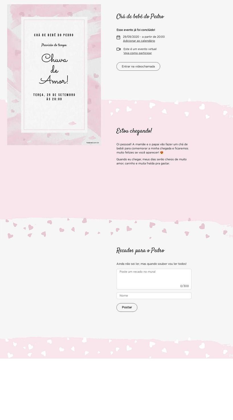 Convite Online Chá de bebê - Chuva de Amor Aquarela Rosa   FestaLab