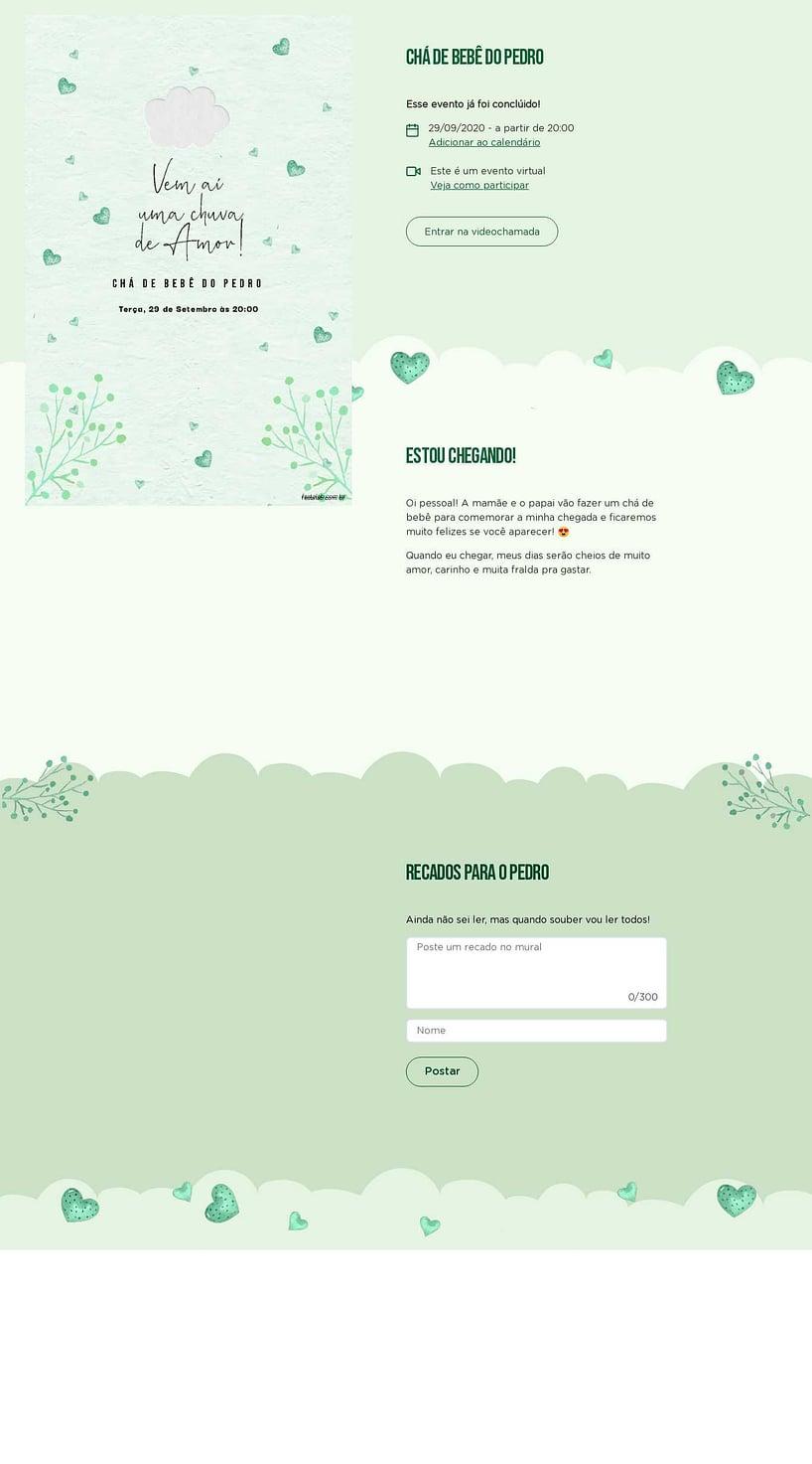 Convite Online Chá de bebê - Chuva de Amor Verde Água   FestaLab