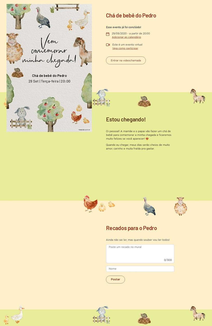 Convite Online Chá de bebê - Fazendinha com Animais | FestaLab
