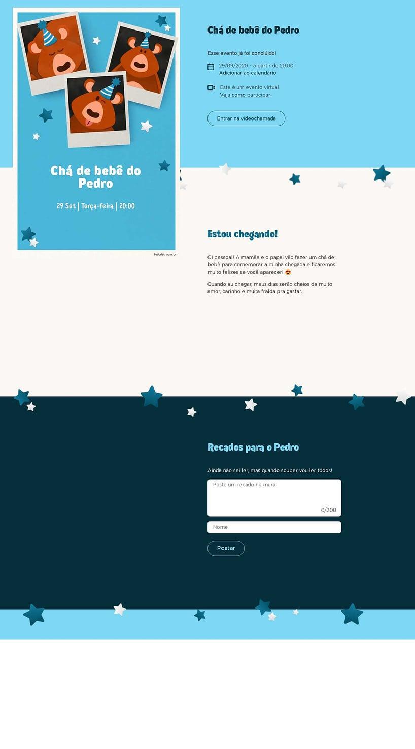 Convite Online Chá de bebê - Ursinho Festa Azul | FestaLab