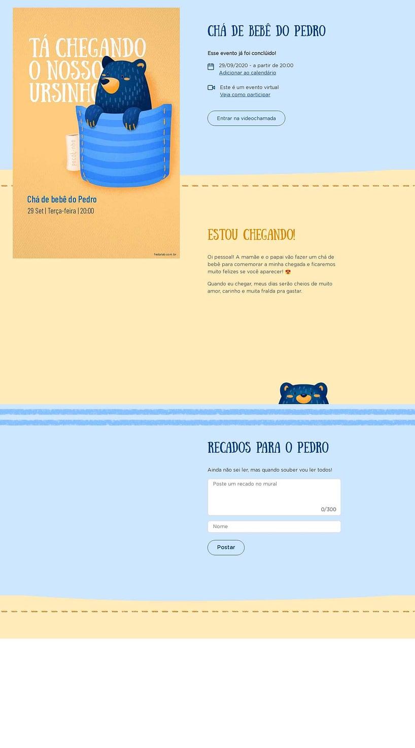 Convite Online Chá de bebê - Ursinho no Bolsinho | FestaLab