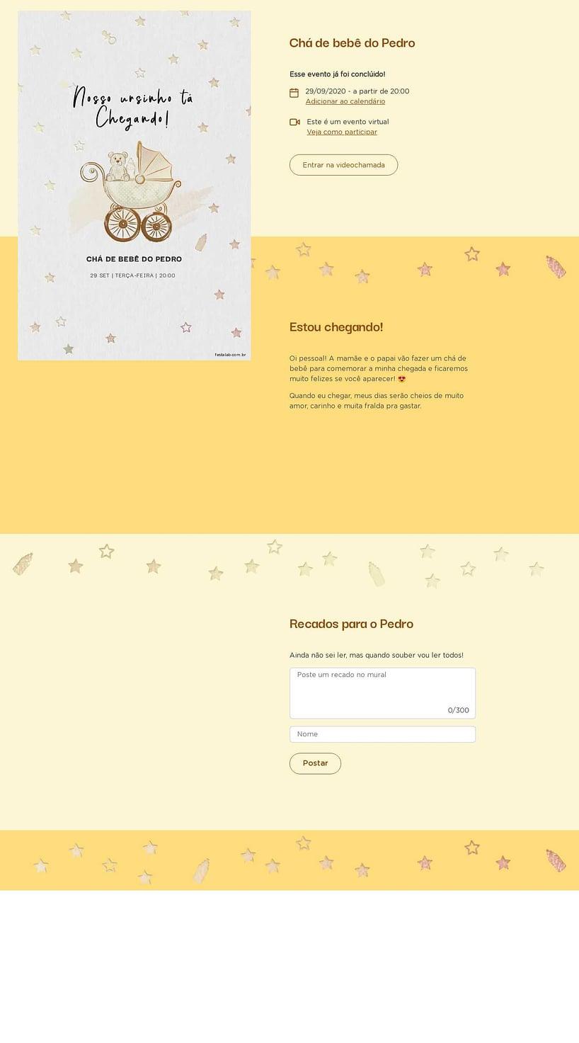 Convite Online Chá de bebê - Ursinho no Carrinho | Festalab