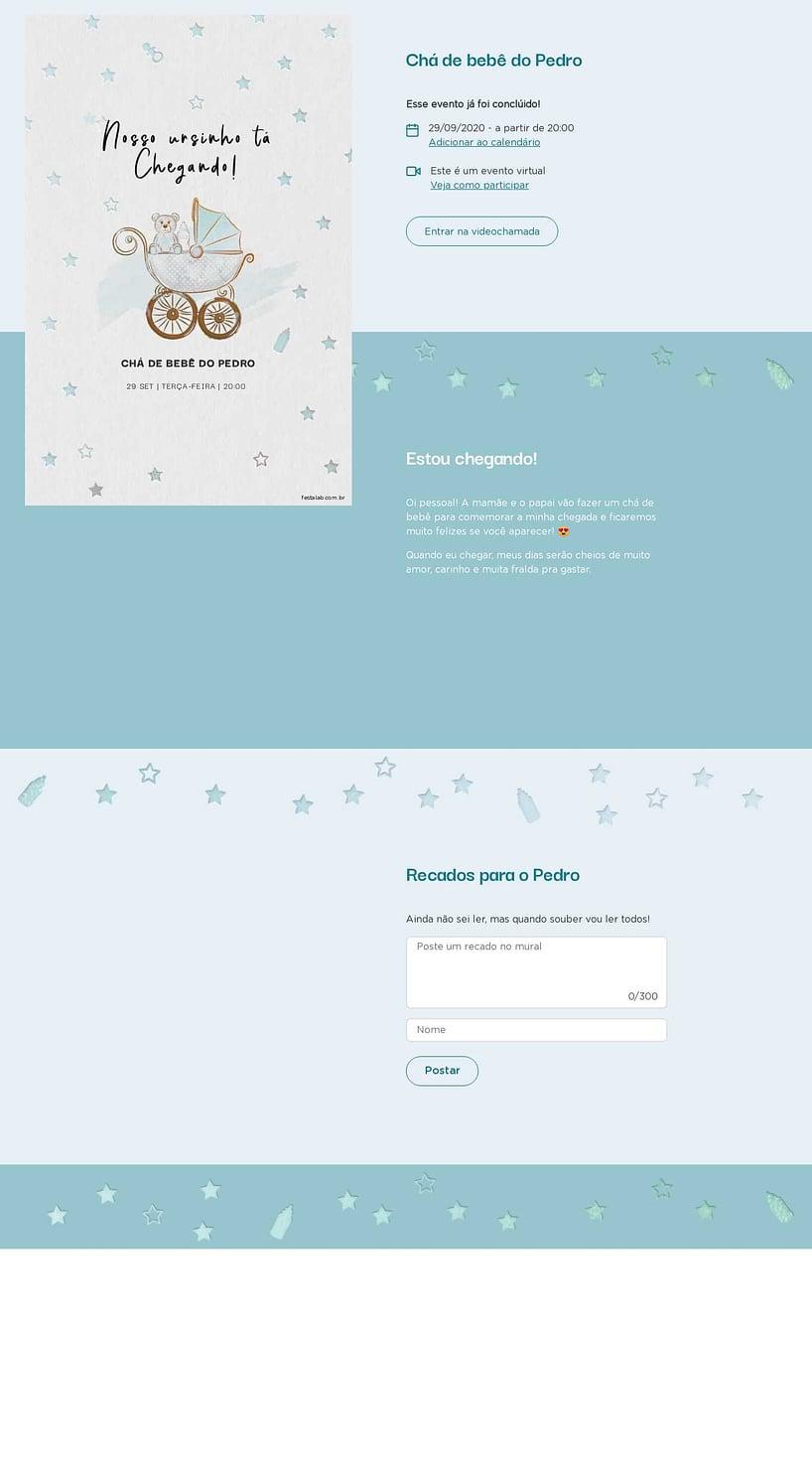 Convite Online Chá de bebê - Ursinho no Carrinho   Festalab