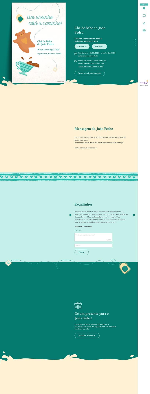 Convite Online Chá de fraldas - Chá do Ursinho Verde | FestaLab