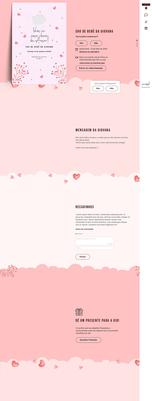Convite Online Chá de fraldas - Chuva de Amor Rosa Chiclete | FestaLab