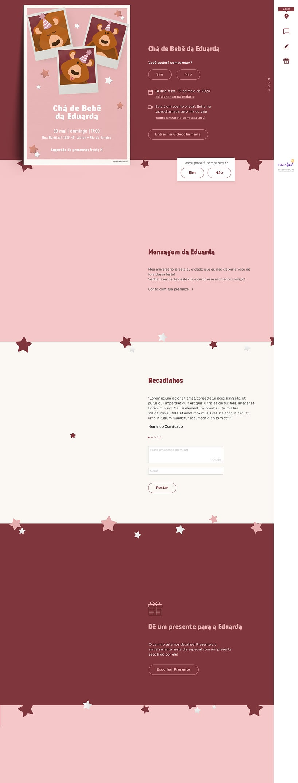Convite Online Chá de fraldas - Ursinho Festa Rosa | FestaLab