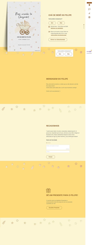 Convite Online Chá de fraldas - Ursinho no Carrinho | FestaLab