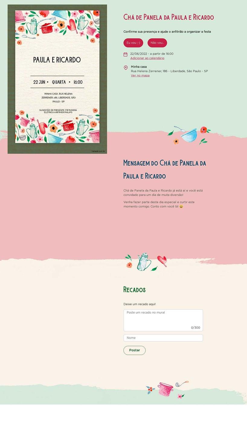 Criar convite online chá de panelas - Rústico Verde| FestaLab