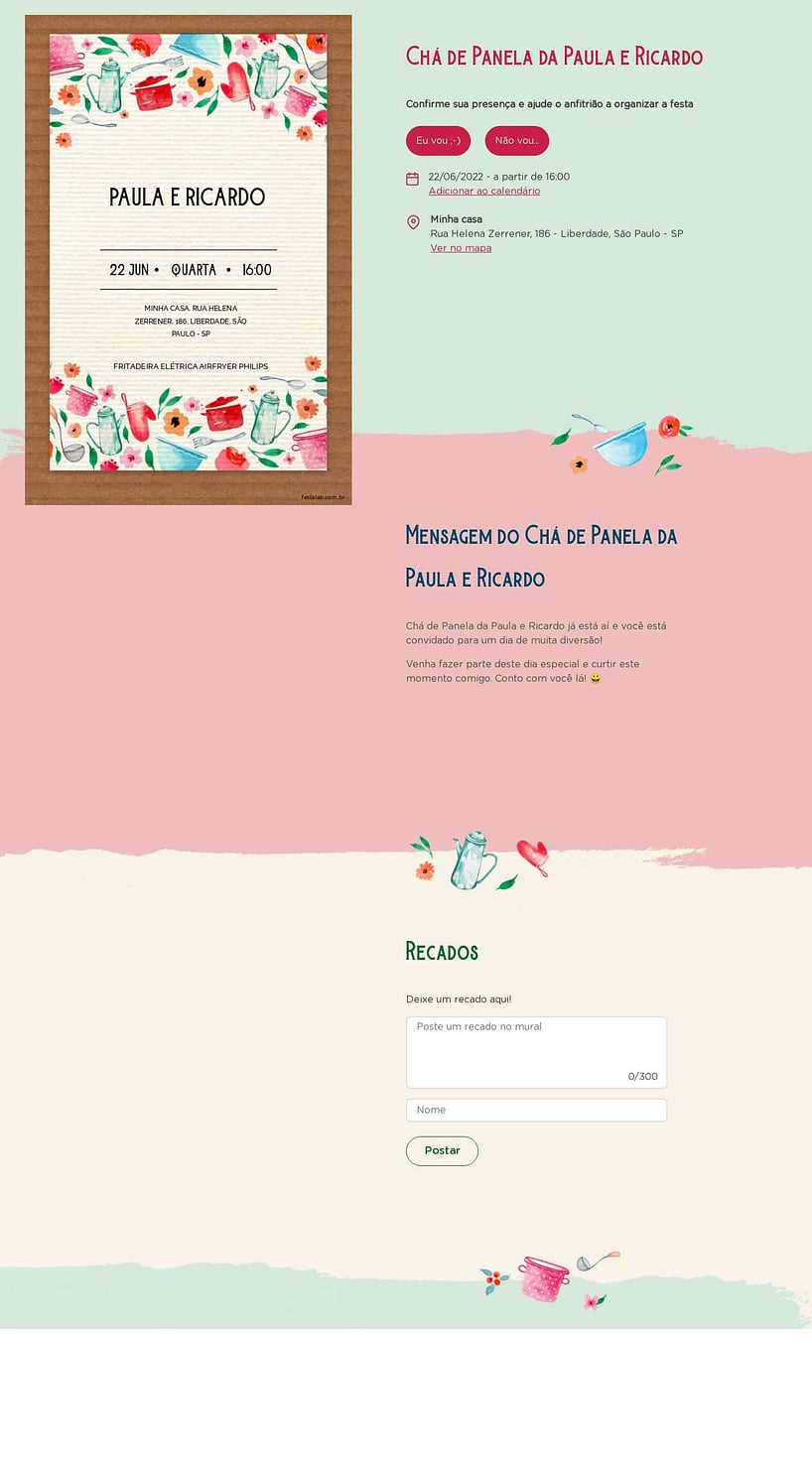 Criar convite online chá de panelas - Rústico| Festalab