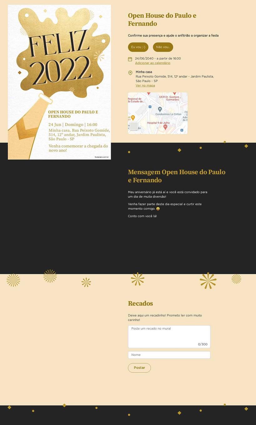 Convite Online Ocasiões especiais - Champanhe de Ano Novo | FestaLab