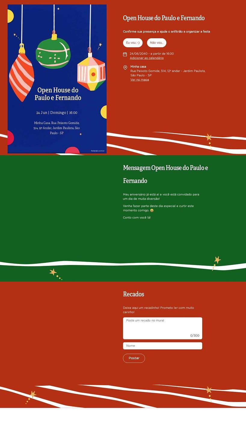 Convite Online Ocasiões especiais - Natal Moderno   FestaLab