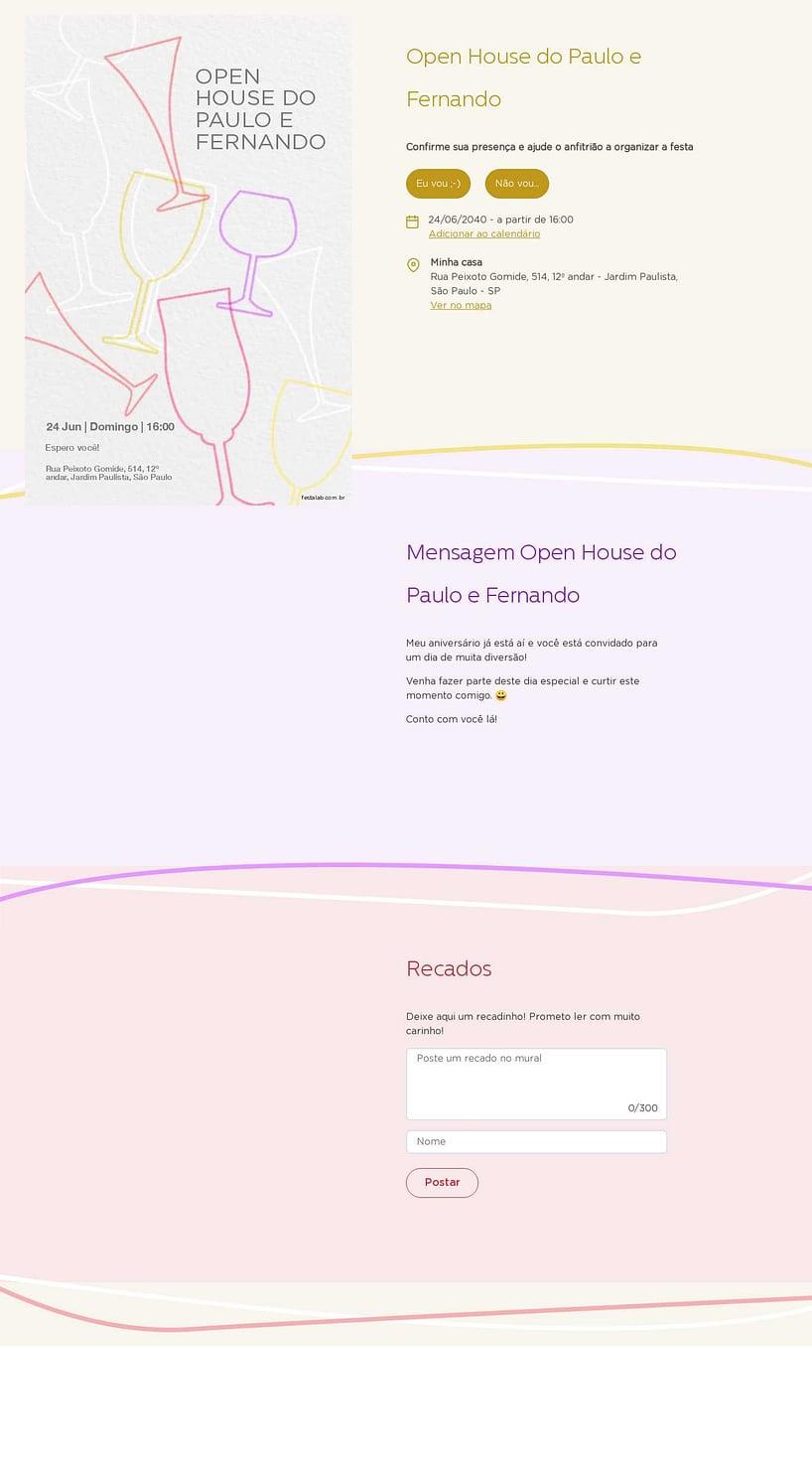 Convite Online Ocasiões especiais - Coqueteis | FestaLab