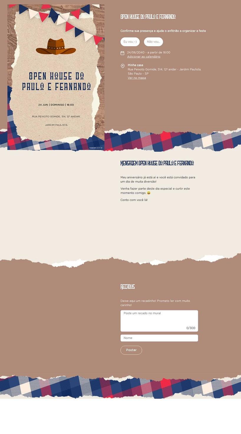 Convite Online Ocasiões especiais - Cowboy | FestaLab