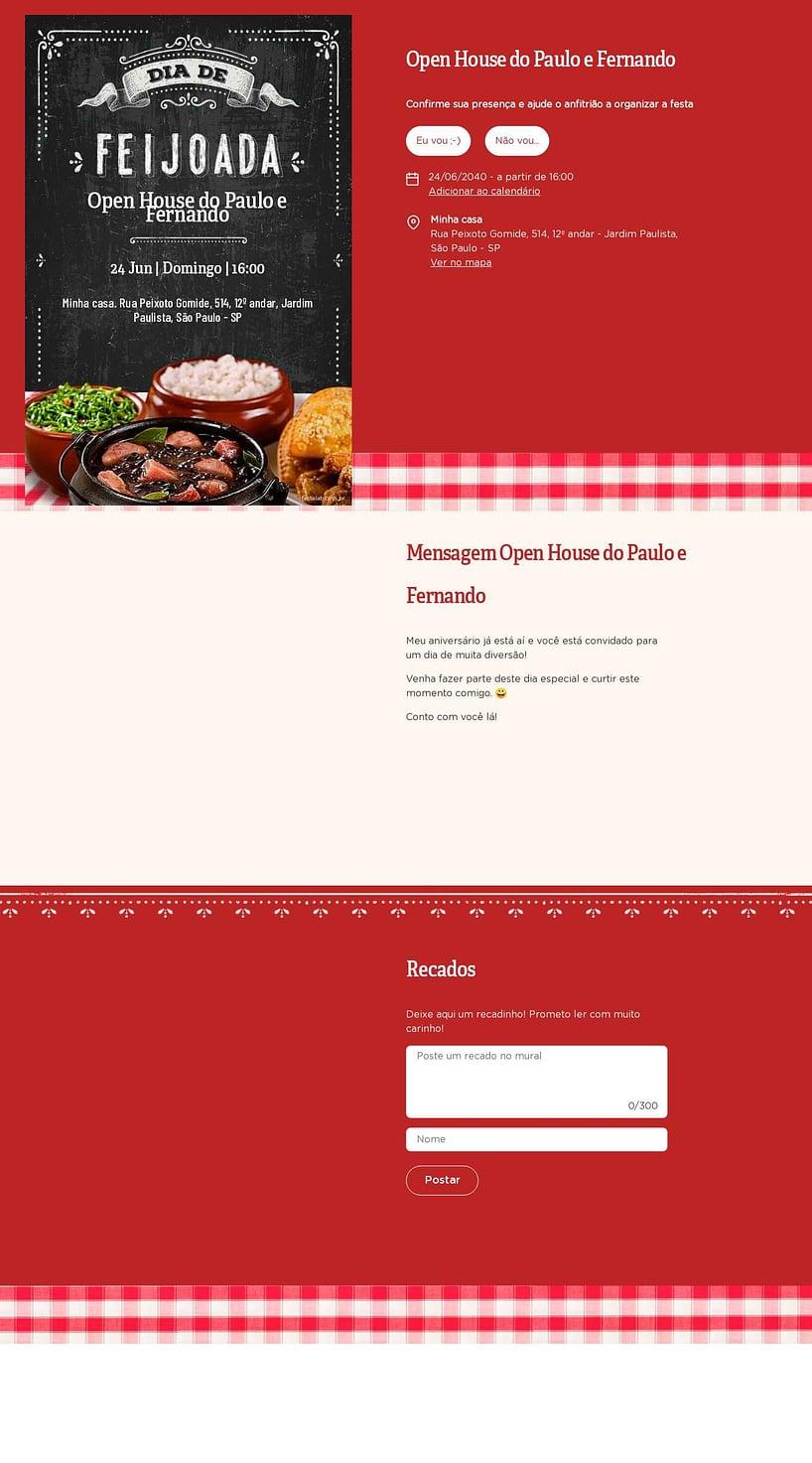 Convite Online Ocasiões especiais - Feijoada   FestaLab
