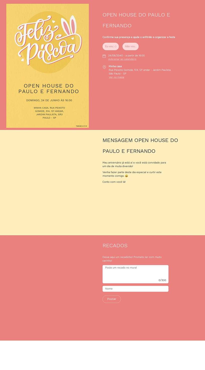 Convite Online Ocasiões especiais - Páscoa Lettering   FestaLab