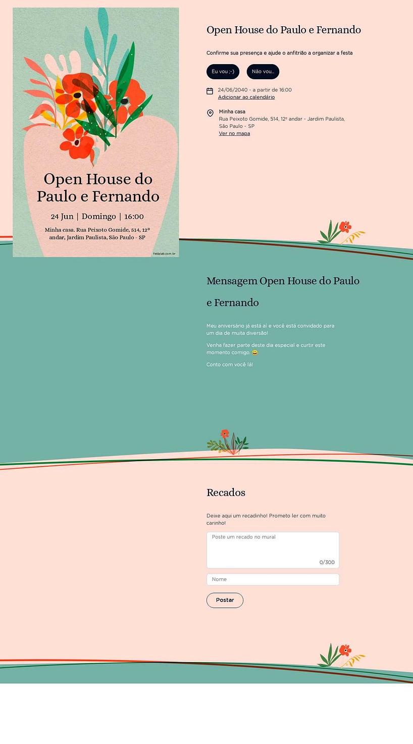 Convite Online Ocasiões especiais - Vaso Floral   FestaLab